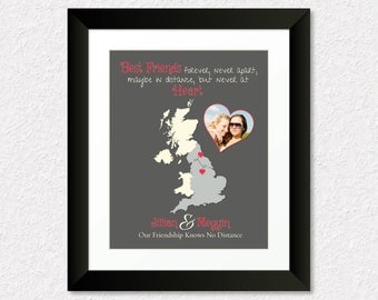Best Friend Long Distance Present, Going Away Gift for BFF, Sister Gift, Birthday Gift for Best Friend, Personalized UK Map Gift, Photo Gift