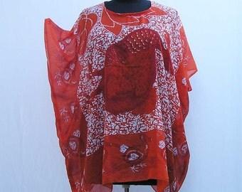 Orange dodo caftan, Plus size Caftan, plus size tunic, cover up, summer dress, boho kaftan, 1x 2x 3x 4x 5x 6x, orange caftan, upcycled tunic