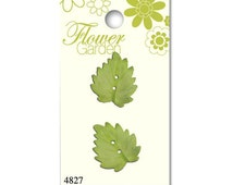 Green Frosted Leaf Buttons, Flower Garden, Blumenthal Lansing, Fall Leaves, 2 Hole Sew Thru Button, 22mm 2 Pieces, Sewing, Crafting, Jewelry