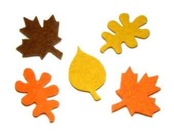 Fall Felt Leaves, Darice Felties Stickers, Maple, Oak, Birch Tree, Autumn Harvest, Brown Orange Yellow, Halloween, Thanksgiving Craft Supply