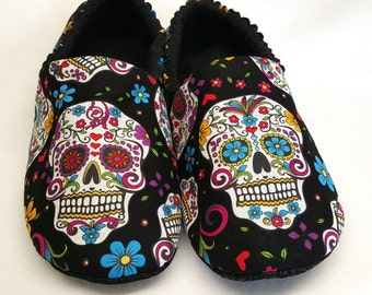 ADULT Sugar Skull Slippers,Dia De Los Muertos,Day of The Dead,Slippers,Bed Shoes