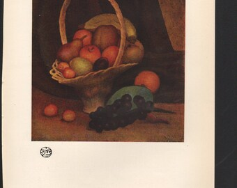 Basket of Fruit; oil painting by Mark Gertler; The Studio Magazine - PD000922