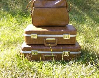 Suitcase set Luggage set Travel Vintage suitcase Vintage luggage Brown suitcase Travel set Travel bags retro luggage Luggage trio baggage