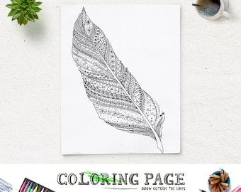 sale coloring page feather doodle art printable feather coloring book adult antistress art therapy instant download - Therapy Coloring Pages Printable