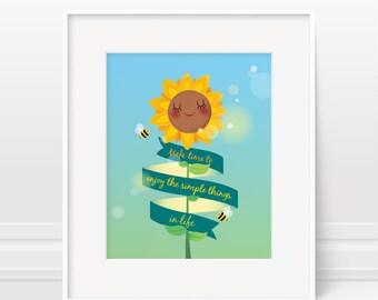 Nursery print, sunflower print, inspirational quote, nursery decor, kids illustration, new baby gift, nursery art print, kids wall art, baby