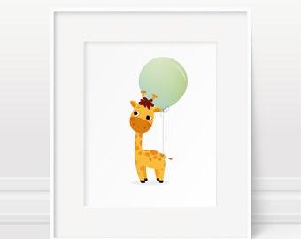 Giraffe and balloon art print, nursery print, kids illustration, animal art, baby nursery decor, childrens art, giraffe print, new baby gift