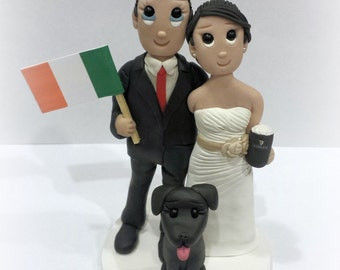 Custom Ireland Flag Wedding Cake Topper with Beer and Medium Dog