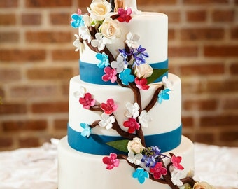 Custom Wedding Cake Topper with Medium Sized Tan Dog