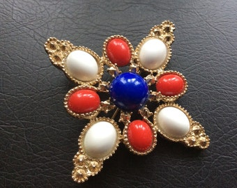 Sarah Coventry vintage Red-White-Blue Cabochons brooch
