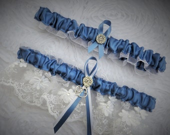 Something Blue Wedding Garter Set, Bridal Garter, Keepsake and Toss-away Garter Set, Wedding Garter, Lace Garter, Blue and White Garter