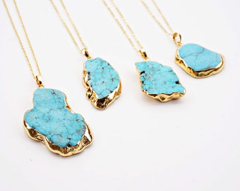 Turquoise and Gold Stone Pendant Agate Druzy Slice Necklace