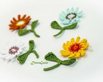 Crochet Flowers with twig, crochet flowers with leaves and stem, crochet flower branches stems appliques, crochet flower garden (Set of 4)