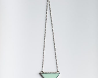 Triangle Necklace - Mint Opaque Glass