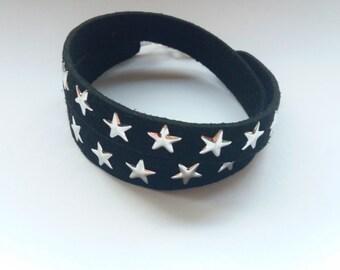 Stars leather wrap bracelet