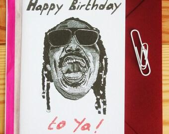 stevie wonder birthday card 'happy birthday to ya' *free UK postage*