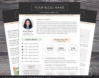 Media Kit Template - The Modern Darling, Mac or PC, Word and Pages Format, Press Kit for Blog