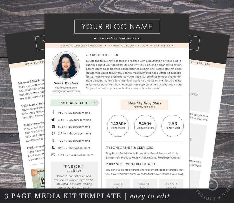 Media kit template the modern darling mac or pc word and for Digital press kit template free
