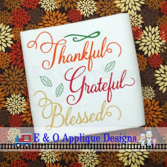 Thanksgiving embroidery design thankful