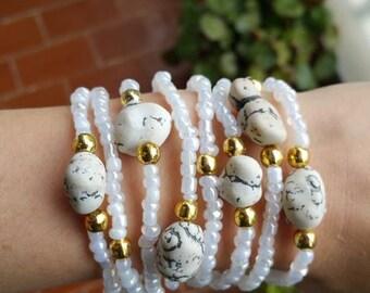 Romantic Bracelet - boho chic - friendship bracelet - beaded bracelet - dainty bracelets - simple jewelry - faux stone - white stone - boho