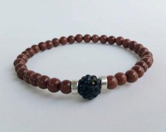 Mens bracelet - bohemian jewelry - beaded bracelets - yoga bracelet - dark brown bracelet - stretch bracelet - gemstone bracelet mens - mala