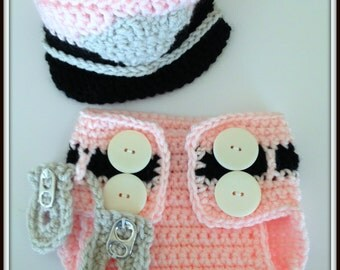 Baby girl Baby Crochet Police Baby Hat and Diaper Cover Photo Prop Baby Shower Gift Baby Shower Decor