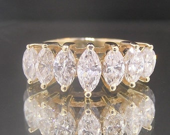 Vintage 14k Yellow Gold Marquise Cut Diamonds Estate Engagement/Anniversary Ring