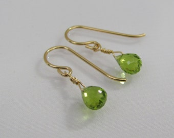 Peridot Earrings, Peridot Gemstone Briolettes, 14K Gold Filled Peridot Jewelry, August Birthstone Earrings, Wedding Jewelry, Bride Earrings