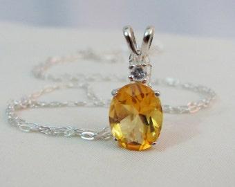 Citrine Gemstone Necklace in Sterling Silver, 10x8 Citrine Jewelry, Accent Necklace, November Birthstone, Citrine Pendant, Wedding Jewelry