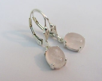 Pink Gemstone Earrings, Rose Quartz Earrings, Leverback Earrings, 9x7mm Gemstone, Sterling Silver, Pink Bride Earrings, Wedding Jewelry