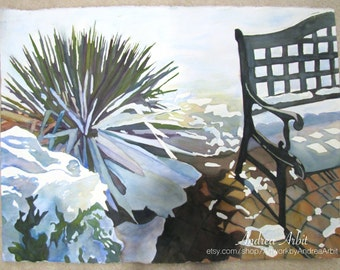 "Winter Bench - 22""x30"" Watercolor Painting"