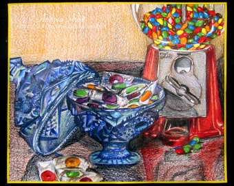 "Candy Still Life - 10""x13"" Colored Pencil Drawing"