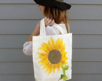 Bohemian Sunflower Handpainted Tote Bag--Made to Order