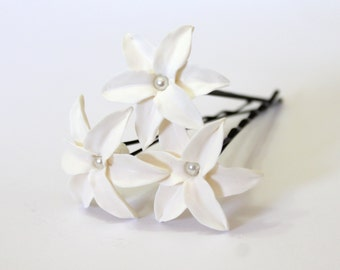White Lily Hair Flower, White Lily with Pearl, Bridal Lily Hair Clip, Wedding Lily Hair Pins, Bridal Hair Flowers, Bridesmaid Jewelry Set of