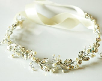 Wedding headband,bridal headband, rhinestone wedding headband, flower headband, pearl headband, bridal headpiece,bridal accessory