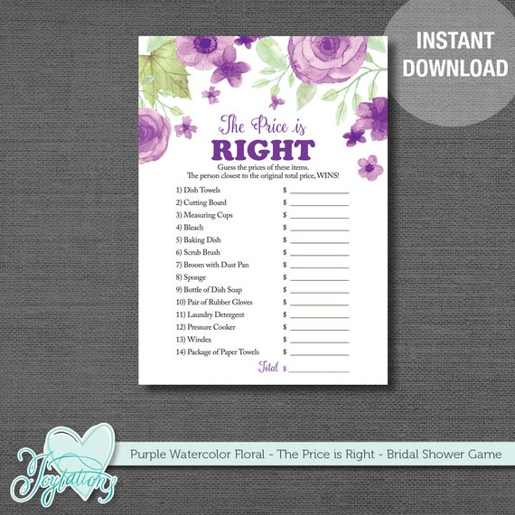 Bridal Shower The Price Is Right Game Printable Instant