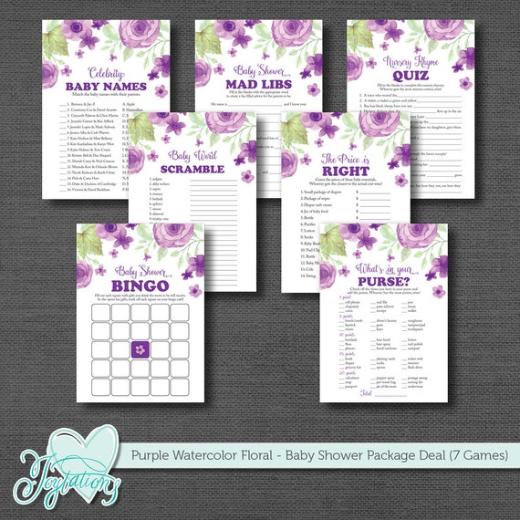 Purple Watercolor Floral Baby Shower Game Package Deal Seven