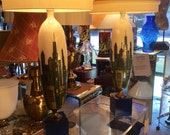 PAIR* of CityScape Lamps Attributed to Marcello Fantoni, Dimensional Sculptural Ceramic & Brass Lamps, Italy - Scottsdale Marketplace #777