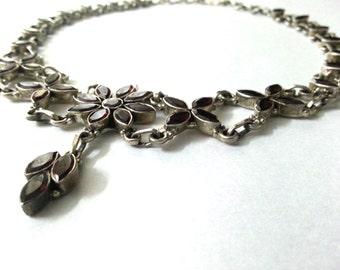 SALE - Garnet Necklace - Sterling Silver Necklace, Designer Necklace - Handmade Necklace, Gemstone Necklace - Artisan Necklace