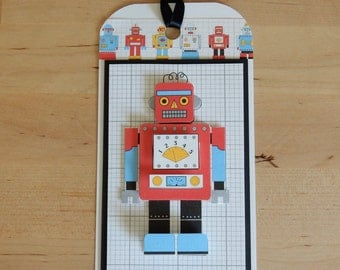 Robot Tag made with repurposed materials layered for an awesome look!