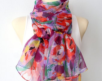 Rainbow Silk Scarf Large Silk Scarf Blue and Red Scarf Silk Scarfs Personalized Gift for Women Valentines Day Gift for her Gift for Mom