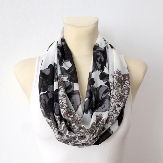 Floral Infinity Scarf Boho Infinity Scarf Black White Scarf Pastel Bohemian Shawl Gift Mom Spring Celebrations Mothers Day from Husband