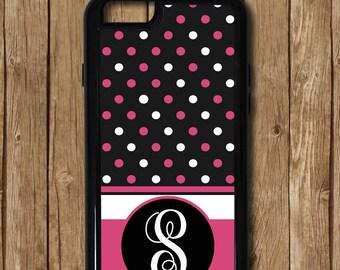 Pink iPhone case, hot pink case, black iphone case, iphone 5 case, iphone 6 plus case, iphone 6 case, iphone monogram, custom iphone