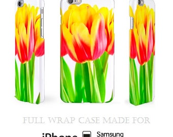 Tulips iPhone 5C Case Flowers iPhone 6 Case Meadow Full Wrap 3D iPhone 5S Case Samsung S5 Case Blossom Cell Cover Bloom iPhone 6 Case iPod 5