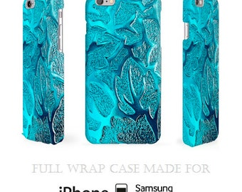Turquoise iPhone 5C Case  - Unique, Subtle and Cool Design Blue Full Wrap 3D Cell Case for iPhone 6, iPhone 5S, Samsung Galaxy S5 and iPod 5