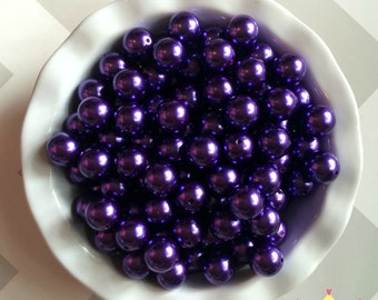20mm Dark Purple Chunky Beads Bubble Gum Pearls (A67)