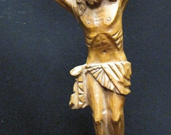 Vintage Hand Carved Wooden Sculpture of Jesus Christ Crucifixion
