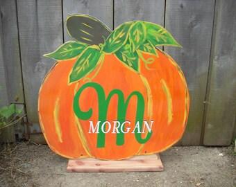 Halloween pumpkin - Halloween porch decoration - Fall for front door - Outdoor Halloween - personalized sign   - Halloween door hanger