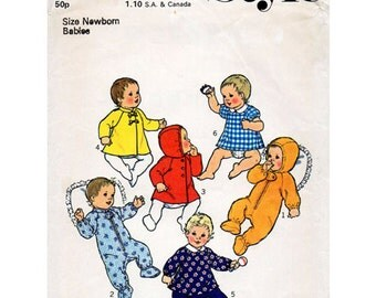 STYLE Baby's Dress, Rompers and Coat Size Newborn Winter Outfit Seventies Vintage SEWING PATTERN 1292