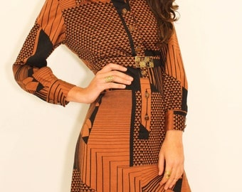 70's African Geometric Vintage Dress