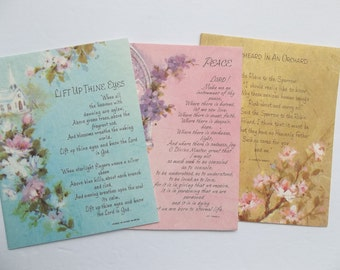 Set of 3  Vintage Note Cards, Religious Note cards, Inspirational cards, vintage greeting cards